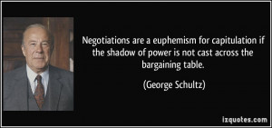 Negotiations are a euphemism for capitulation if the shadow of power ...