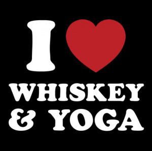 Funny Yoga Satire T Shirt - I Love Whiskey & Yoga
