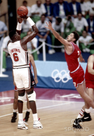USA Dream Team center Patrick Ewing (6) shoots over Croatia forward ...