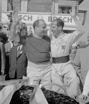 Juan Manuel Fangio and Stirling Moss at the Nurburgring