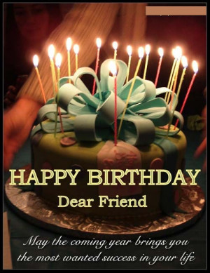 Happy Birthday Quotes for Friends with Cake