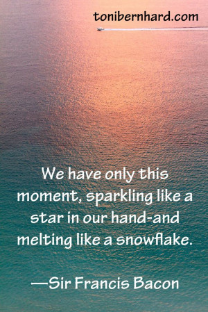 We have only this moment .....Sir Francis Bacon quote