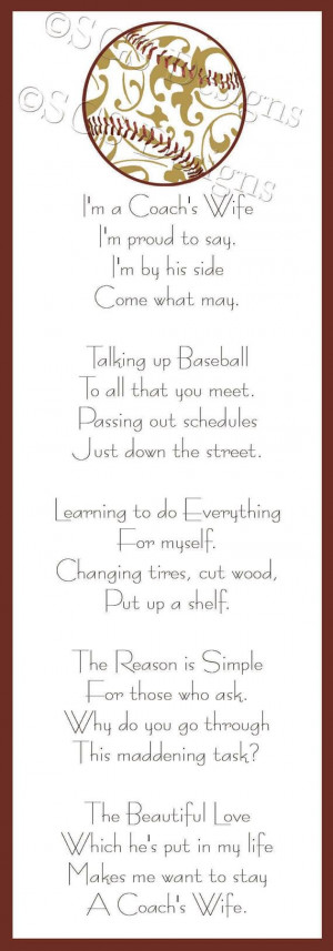 Baseball Coach's Wife Poem Digital File by SouthernGypsySoul, $5.00
