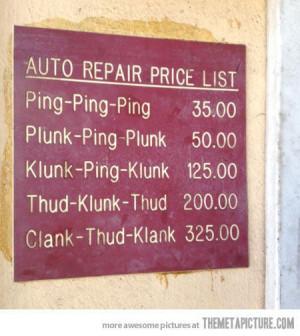 funny auto repair sign