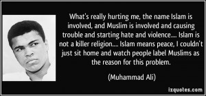 ... Islam is not a killer religion.... Islam means peace, I couldn't just