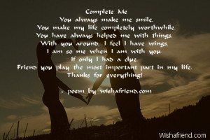 You Mean Alot To Me Poems Complete me you always make me