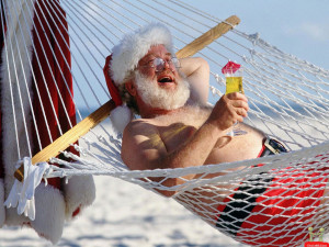 Santa Claus On Vacation Funny Picture