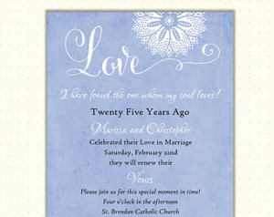Vow Renewal Invitation, love, blue, soul mate, romantic, casual ...
