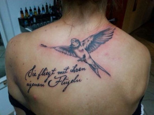 Bird with Quotes Tattoos for Women on Back