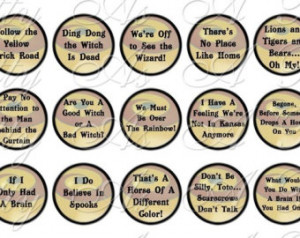 Wizard of Oz Quotes Sampler Size - One Inch Circles - INSTANT DOWNLOAD ...