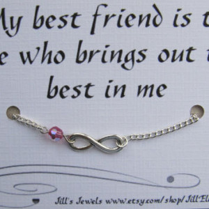 Best Friend Infinity Charm Bracelet a Crystal and Friendship Quote ...