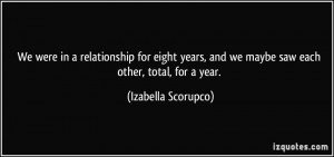 and we maybe saw each other total for a year Izabella Scorupco