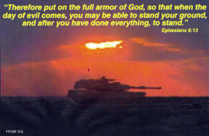 ... featured biblical quotes and battle images. (COURTESY: GQ MAGAZINE