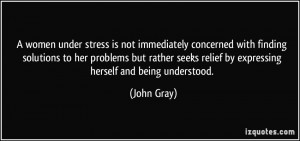 stress is not immediately concerned with finding solutions to her ...