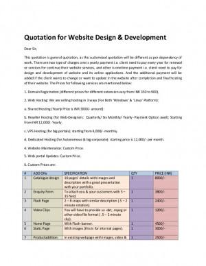 Quotation for website design
