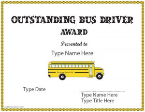 Show some appreciation! Special Certificate - Outstanding Bus Driver ...
