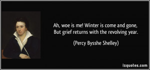 Ah, woe is me! Winter is come and gone, But grief returns with the ...