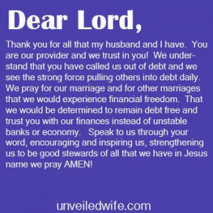 Prayer Of The Day - Eliminating Debt & Financial Freedom