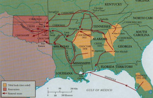 indian removal act trail of tears map