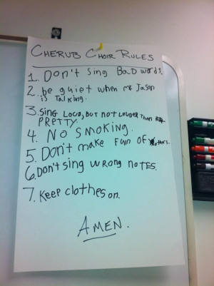 Children's Choir Rules- in honor of teaching my first children's choir ...