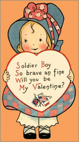 Old Valentine Card made during the war. Little girl holding a heart ...