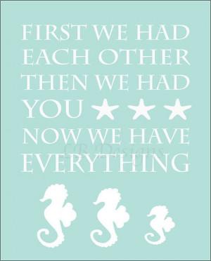 Aqua Seahorse Family Nursery Quote Print 8x10 by LJBrodock, $10.00
