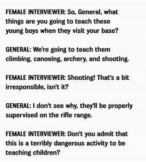 Marine General answers a female interviewer