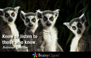 Know or listen to those who know. - Baltasar Gracian