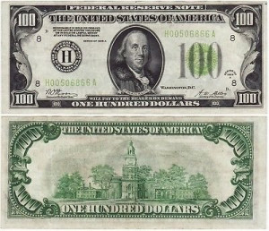 1928-A GOLD $100 DOLLAR BILL OLD PAPER MONEY US CURRENCY BANK NOTE ST ...