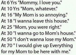 "... Yrs Mommy, I love you."" At 10 Yrs Mom, whatever."" At 16 Yrs My Mom"