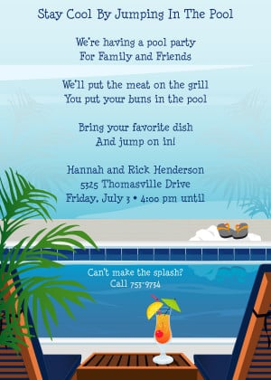 ... Pool side party! Printed on premium 100lb cardstock, you will love the