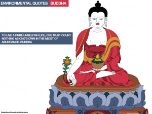 Environmental quotes. Illustrations Kenneth buddha jeans