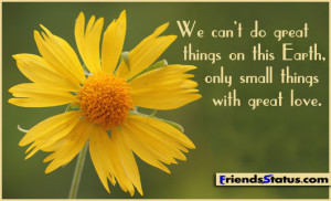 We can't do great things on this Earth, only small things with great ...
