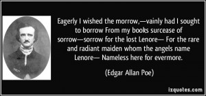 Eagerly I wished the morrow,—vainly had I sought to borrow From my ...