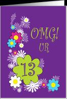 Ur 13 happy 13th birthday card Image