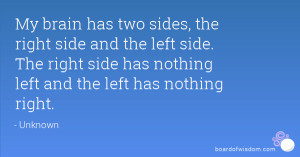 My brain has two sides, the right side and the left side. The right ...
