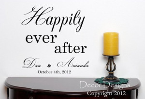 Happily Ever After Wedding Quote Vinyl Wall Decal