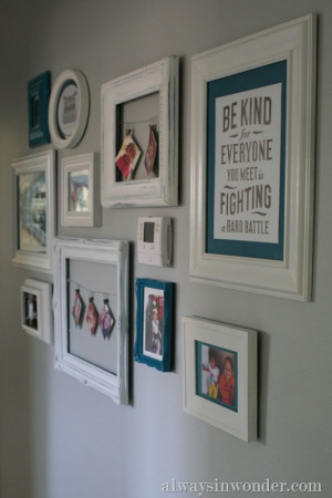 thermostat...Using a framed quote is a wall idea and so are the frames ...