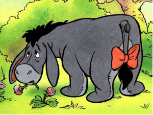 Eeyore's tail is attached via a nail.