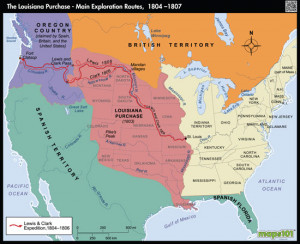 Louisiana Purchase and Western Exploration Routes Map