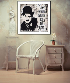 Charlie Chaplin Quote about Laughter, Mixed media painting ...