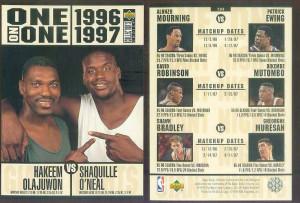 ... -ON-ONE JUMBO #2 SHAQUILLE O'NEAL vs HAKEEM OLAJUWON Basketball card