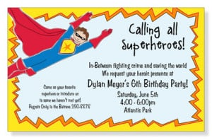 Super Hero Unite Birthday Party Invitations