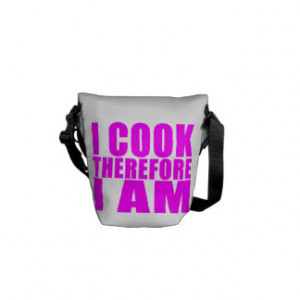 Funny Quote Chefs I Cook Therefore I Am Courier Bags