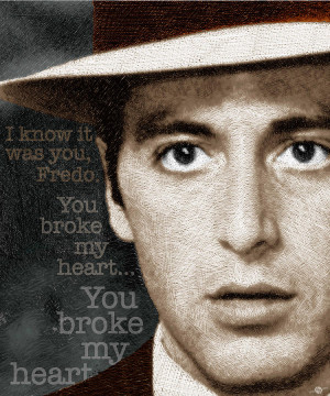 Al Pacino As Michael Corleone And Fredo Quote Painting