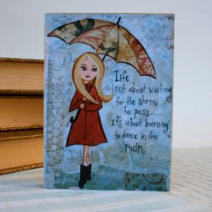 Inspirational Quote Art Block Rainy Day Girl Wall Art Mixed Media 3 x ...