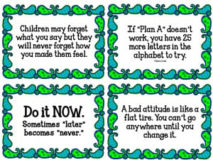 11 Quotes that will inspire teachers and students. Cute blue/green ...