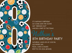 Sports Number Chocolate Birthday Invitations