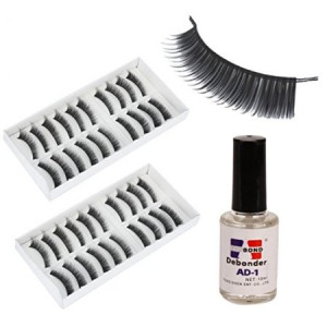Usongs 20 Pairs False Eyelashes and Remover Cleansing Glue Water ...