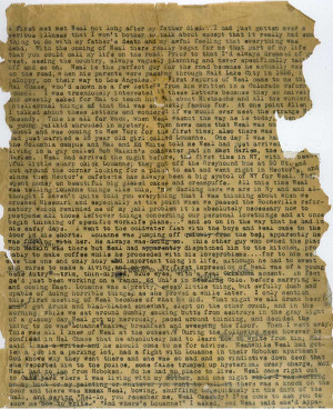 The first page of the manuscript for Jack Kerouac's On the Road .